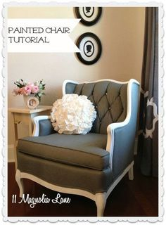 how to paint upholstery fabric and transform a chair, chalk paint, painted furniture, reupholster, The after shot with four coats of dark grey paint and rhinestone bling on the buttons