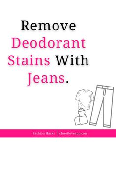 Did you know that you can get rid of deodorant stains by rubbing them with a pair of jeans? Test a small patch first to avoid any color transfer. Remove Deodorant Stains, Clothing Hacks, Virtual Closet, Did You Know, Knowing You, Rid, Patches, How To Remove, Style Inspiration
