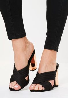 Stay on point this season with these black beauts. With cross straps and rose gold heel - all eyes will be on you! Heeled Mules Sandals, Rose Gold Heels, Strap Heels, Shoes Online, Peep Toe, High Heels, Footwear, Missguided, Eyes