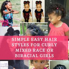Looking for simple, easy curly mixed race hairstyles? I can admit I'm not one of those Mums who spends a tonne of time on my biracial daughters' mixed race hairstyles. (I don't sp… Mixed Race Hairstyles, Easy To Do Hairstyles, Black Girl Short Hairstyles, Baby Girl Hairstyles, Creative Hairstyles, Mixed Hairstyles, Natural Hairstyles, Hairstyle Ideas, Hair Ideas