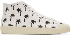 Saint Laurent White Palm Trees SL-37 Surf Court Classic Mid-Top Sneakers