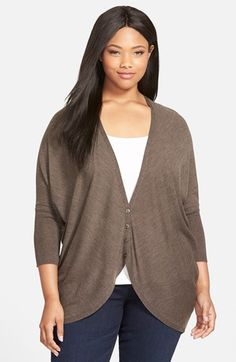 Eileen Fisher Oval Cut Merino Wool Cardigan (Plus Size) available at #Nordstrom