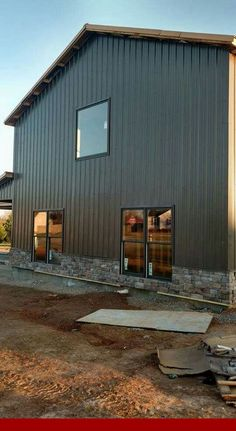 Gray metal exterior copper roof small overhang metal building homes, metal Metal Building Prices, Metal Building Homes, Building A Shed, Metal Homes, Morton Building, Building Ideas, Barn House Kits, Barn House Plans, Shed Plans