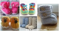 Collection of Knit Ankle High Baby Booties Free Patterns Instructions: knit rainbow booties, UGG booties, animal booties, wrap around booties and more