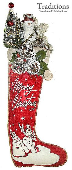 Bethany Lowe vintage stocking, $42.99  (Traditions in Canoga Pk, CA has a great selection of vintage-inspired ornaments for all holidays)