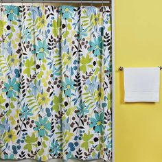 Fabric Curtains With Yellow Walls - in white background with sage, brown & teal (also baby blue & cornflower blue)