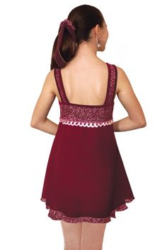 Jerrys Figure Skating Dress #109 - Garnet Glitter Figure Skating Dress
