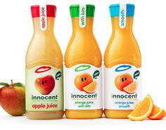 innocent – pure fruit smoothies, orange juice, kids smoothies and tasty veg pots. No funny business. Yes, Coca Cola may have a stake in them but innocent remain true to their ethics and their mission. Innocent Juice, Innocent Drinks, Juice Packaging, Beverage Packaging, Hot Sauce Bottles, Drink Bottles, Soda, Apple Juice, Fruit Juice