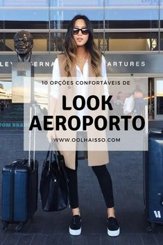 Airport Look: 10 options to maintain comfort while traveling Cute Travel Outfits, Travel Clothes Women, Airport Travel Outfits, Airport Look, Airport Style, Casual Outfits, Fashion Outfits, Personal Stylist, Ladies Dress Design