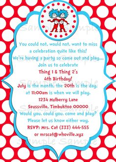 Seuss Thing 1 & Thing 2 Birthday Party Invitation Printable