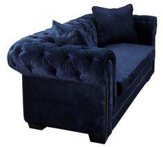 Norwalk Navy Velvet Sofa , EMFURN - 6