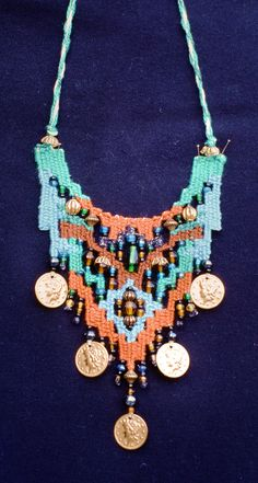 Necklace in the style of Helen Banes. 1996. Polly McCann Macrame Jewelry, Boho Jewelry, Jewelery, Jewelry Art, Weaving Textiles, Tapestry Weaving, Pin Weaving, Loom Weaving, Bead Embroidery Jewelry