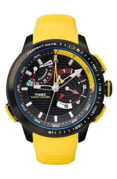 Free shipping and returns on Timex® 'Intelligent Quartz - Yacht Racer' Silicone Strap Watch, 47mm at Nordstrom.com. A unique bidirectional fourth hand lets you count down to a chronograph start and also keep track of the date along the bezel of this pure sports watch. The fly-back chronograph subdials, minute track and comfortable silicone strap enhance the athletic, adventure-seeking style.