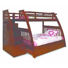 Canwood Ridgeline Twin Over Full Bunk Bed With Built In Stairs Drawers…