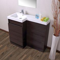 Aston Left Hand Dark Oak Bathroom White Basin Vanity Unit & Toilet Unit - 1000mm