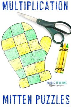 Click through to check out these multiplication mitten math puzzles. They're great for the elementary 3rd, 4th, or 5th grade classroom or homeschool students to use in December, January, or anytime there's snow on the ground. Multiplying practice, review, and centers will be fun with these engaging, hands on options. Learn more by clicking through now! (third, fourth, fifth graders, Year 3, 4, 5) #HoJoTeaches #Winter