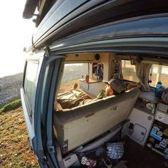 What should we call this seat? The sunset seat? The lazy boy seat? The westy lounge? by crepeattack T3 Vw, Vw T3 Syncro, Volkswagen Westfalia, Bus Camper, Camper Life, Bus Interior, Campervan Interior, Interior Ideas, Transporter T3