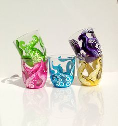 5 piece octopus tentacle glass set by ArianaVictoriaRose on Etsy, $45.00