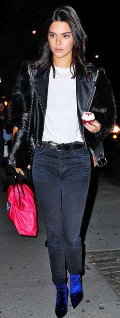 Kendall Jenner in Jacket – Saint Laurent  Purse – Givenchy  Belt – Isabel Marant  Shoes – Balenciaga