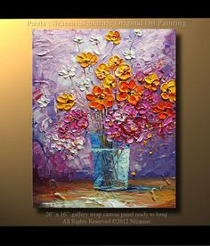 ORIGINAL Palette Knife Oil Impasto Painting  Flowers by by Nizamas, $275.00