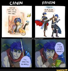But Ike fanon isn\'t exactly wrong either... PoR or RD, he\'s a total dork.