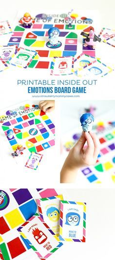 Print out this Printable Inside Out Emotions Board Game to help teach young kids colors and emotions!