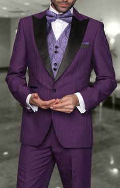 Tzarelli Mens Natalie Purple Tonal Stripe Modern Fit Tuxedo♥♫♫♥♥♫♫♥J Purple Tuxedo, Tuxedo Colors, Purple Suits, Wedding Dress, Tuxedo Wedding, Wedding Suits, Rainbow Wedding, Purple Wedding, Cool Tuxedos