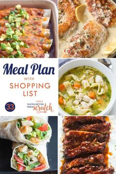 "A 5-day meal plan with easy and family friendly dinners as well as a free printable shopping list so that you always have an answer for that nagging question, ""What's for dinner?!"" 