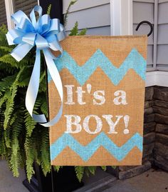 It's a Boy Birth Announcement Burlap Garden Flag w/ Accent Bow  on Etsy, $15.00
