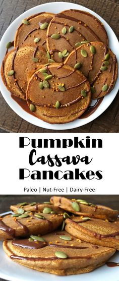 These Pumpkin Cassava Pancakes are easy to make, nut free, fluffy and low in sugar. The best gluten free, Paleo pumpkin pancake recipe! Paleo Pumpkin Pancakes, Gluten Free Pancakes, Pumpkin Puree, Pancakes Easy, Cassava Recipe, Cassava Flour Recipes, Free Paleo Recipes, Real Food Recipes, Delicious Recipes