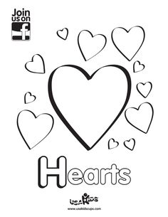 """Happy Valentine's Day! Have a little fun with """"Hearts"""" with USA Kids coloring sheet."""