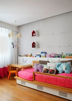 Colorful and poetic girl's room, birds on a wire #kids #decor #estella