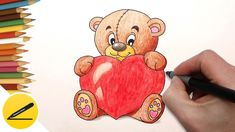 How to Draw a Bear with a Heart ❤ Draw pictures for Valentine   Valentine. A heart. Bear. How to draw a bear with a heart - pictures for Valentine. Drawings on Valentine's Day on 14 February. Watch the video: