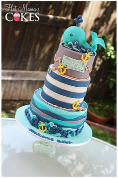 Hot Mamas Cakes specializes in custom cakes, cupcakes and sugar art for all occasions Whale Cakes, Dolphin Cakes, Sea Cakes, Cupcakes, Cupcake Cakes, Cake Pops, Watermelon Baby, Nautical Cake, Creative Desserts