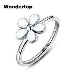 Wondertop Original S925 Sterling Silver Daisy Flower Women Ring With White Enamel For Women Party 2017 New Jewelry Size 6-8