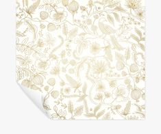 Aviary Peel & Stick Wallpaper   Rifle Paper Co. Foyer Wallpaper, Wallpaper Samples, Starry Ceiling, Gold Ink, Metallic Gold, Ink Pen Drawings, Rifle Paper Co, Blooming Flowers, Drops Design