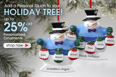 PersonalizationMall is having a HUGE Personalized Christmas Ornament Sale! ALL of their ornaments are up to 25% off - baby ornaments, wedding ornaments, photo ornaments, family ornaments - you name it they have it all! You HAVE to check out this site! #Sale #Ornaments #ChristmasGifts