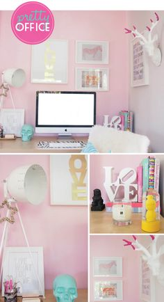 Loving this pretty pink home office designed by Kelle from Habitat and Beyond blog. Check out full details at the blog http://www.adoremagazine.com/blog/2012/9/25/pretty-pink-home-office.html
