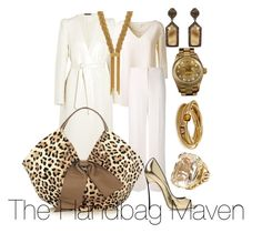 """""""Leopard, White and Gold"""" by thehandbagmaven ❤ liked on Polyvore featuring Maison Margiela, Marc Jacobs, Duro Olowu, ADORNIA, CC SKYE, Aurélie Bidermann, Roberto Coin, Casadei and Rolex"""