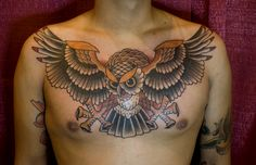 Little bit more aggressive than most owl tattoos.