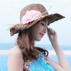 Flower straw sun hat for women UV protection coffee summer hats