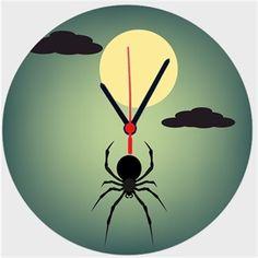 Esrarlı Gece Anlatımlı Örümcekli - Duvar Saati 27 cm Kendin Tasarla - Duvar Saati 27cm