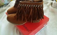 Girls shoe size 11 Gold chain Fringe Zipper Ankle Suede brown western Boots