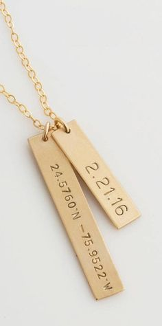 Personalized Bar Necklace /Coordinates Necklace/Gold Bar Necklace