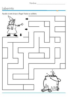 Crafts,Actvities and Worksheets for Preschool,Toddler and Kindergarten.Lots of worksheets and coloring pages. Halloween Labyrinth, Halloween Maze, Theme Halloween, Halloween Diy, Bricolage Halloween, Maze Worksheet, Halloween Crafts For Toddlers, Kids Crafts, Halloween Preschool Activities
