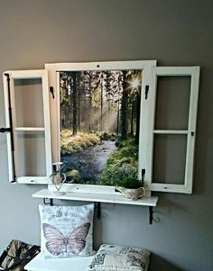 Window frame … - Do it yourself decoration Faux Window, Diy Casa, Deco Originale, Wall Decor, Room Decor, Cool Ideas, Diy Ideas, Decor Ideas, Craft Ideas