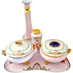 French Limoges Porcelain Dresser Vanity Set Signed by several European Quality Porcelain Companies Consisting of tray, powder box, hair receiver~vase and hat pin holder~Circa 1990-1914