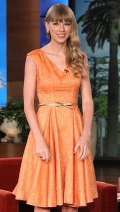 Taylor Swift's orange dress on The Ellen Degeneres Show