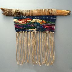 Woven Wall Hanging with Upcycled Materials Colorful by fishwarp