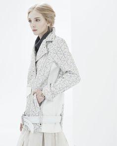ALI ROSE : Arlene Oversized Moto Jacket - Laser Cut Lambskin White Leather Jacket - www.AliRose.com
